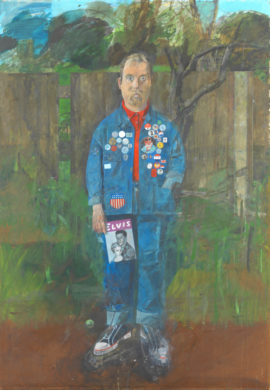 Peter Blake, Self-Portrait with Badges, 1961, Oil paint on board, 174.3 x 121.9 cm. © Sir Peter Blake, All rights reserved, DACS 2017. Photo: courtesy and © Tate, London 2017