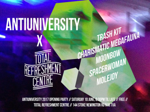 Flyer for Antiuniversity Now 2017 launch party