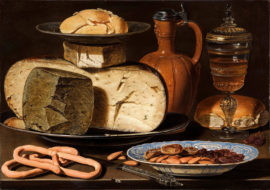 Clara_Peeters_-_Still_Life_with_Cheeses,_Almonds_and_Pretzels