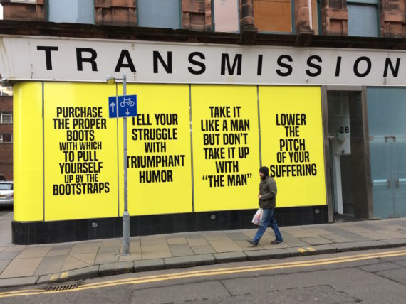 Transmission Gallery, Glasgow, photographed January 2017 and featuring How To Suffer Politely (And Other Etiquette), posters by Kameelah Janan Rasheed. Photo: Chris Sharratt