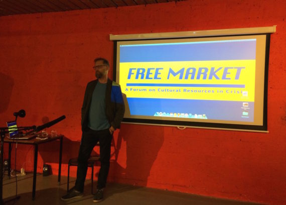 Willie Sullivan at Free Market symposium, Market Gallery, Glasgow, 17-19 May 2017. Photo: Chris Sharratt