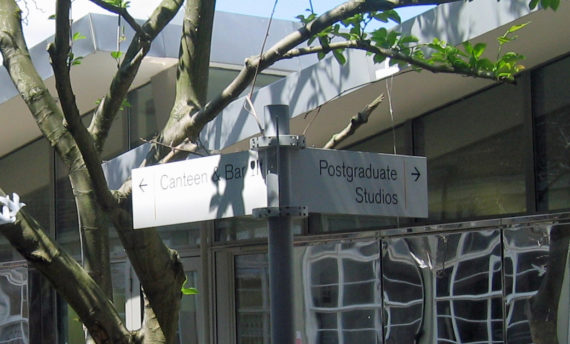 Outside the Postgraduate studio, Wimbledon College of Arts. Courtesy: Edwina fitzPatrick
