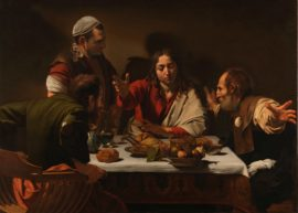 Michelangelo Merisi da Caravaggio, The Supper at Emmaus, 1601. Oil on canvas, 141 x 196.2 cm. The National Gallery, London. Presented by the Hon. George Vernon, 1839. © The National Gallery, London