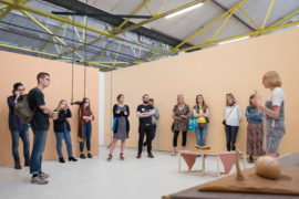 a-n Assembly Liverpool with Emma Curd speaking at The Royal Standard about the exhibition The Thinking Business, May 2017. Photo: Rachel Brewster