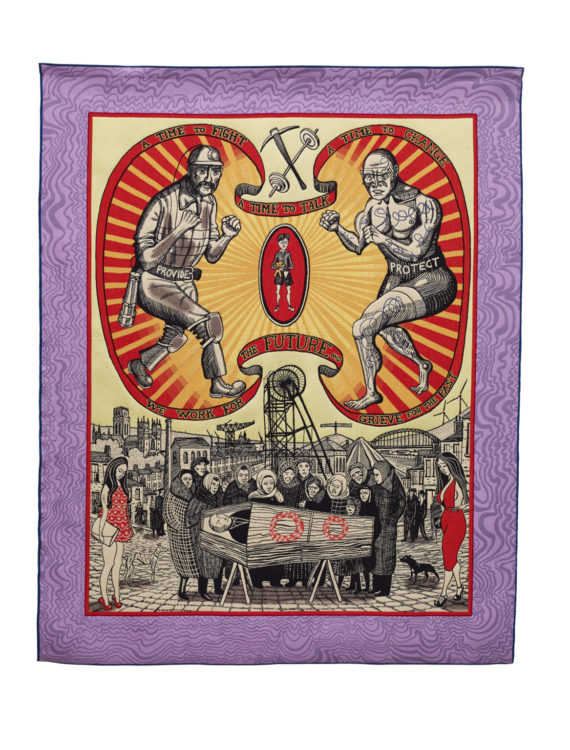 Grayson Perry, Death of a Working Hero, 2016. Tapestry. Courtesy the artist, Paragon Press and Victoria Miro, London. Photography: Stephen White © Grayson Perry