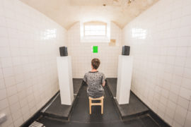 """To The Next"", by Kim Walker (pictured).  Installation shot from Confined Spaces exhibition in the cells of the old Campbeltown gaol and police station. Photo credit Raymond Hosie."