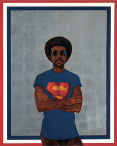 Barkley L. Hendricks, Icon for My Man Superman (Superman Never Saved any Black People--Bobby Seale), 1969, Oil, acrylic and aluminium leaf on linen canvas, 1511x1219mm, Collection of Liz and Eric Lefkofsky, © Barkley L. Hendricks. Courtesy: the artist and Jack Shainman Gallery, New York. Soul of a Nation: Art in the Age of Black Power Tate Modern, 12 July – 22 October 2017