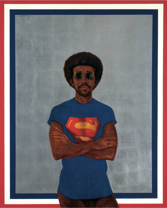 Barkley L Hendricks, Icon for My Man Superman (Superman Never Saved any Black People--Bobby Seale), oil, acrylic and aluminium leaf on linen canvas, 151x122cm, 1969. Collection of: Liz and Eric Lefkofsky; © Barkley L Hendricks; Courtesy: the artist and Jack Shainman Gallery, New York.  Soul of a Nation: Art in the Age of Black Power Tate Modern, 12 July – 22 October 2017