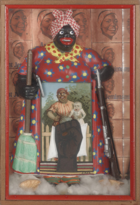 Betye Saar (born 1926) The Liberation of Aunt Jemima 1972 Wood, cotton, plastic, metal, acrylic paint, printed paper and fabric 298 x 203 x 70 mm University of California, Berkeley Art Museum and Pacific Film Archive, purchased with the aid of funds from the National Endowment for the Arts (selected by The Committee for the Acquisition of Afro-American Art) © Betye Saar. Courtesy of the Artist and Roberts & Tilton, Los Angeles, California.  Soul of a Nation: Art in the Age of Black Power Tate Modern, 12 July – 22 October 2017