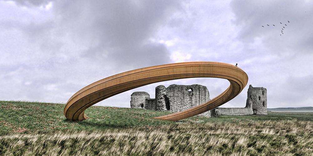 Iron Ring sculpture, Flint Castle, architect's concept drawing. Courtesy: Cadw Marketing.