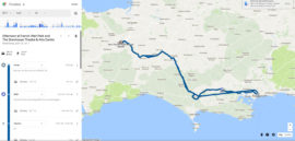 Google Timeline image map showing car journey of 146 miles round trip - Bournemouth to Taunton and back again