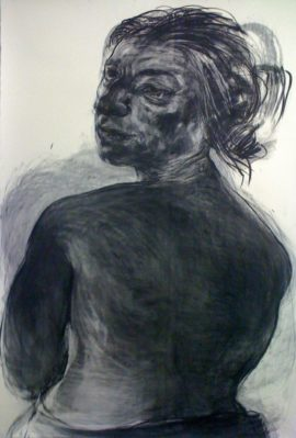 Anita Taylor, Glance, 2012. Charcoal on paper, 210cm x 156cm.