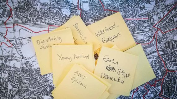Photo showing map of Taunton and series of post-it notes - brainstorm groups for Artist residency project artwalks