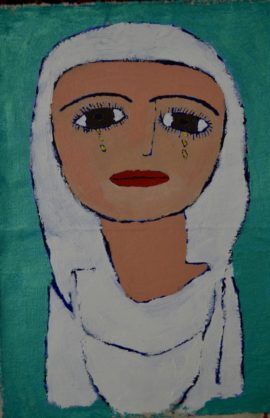 One of the portraits by the Yezidi women