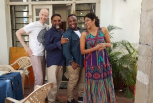 1 Shanthi Road, Bangalore, artist residency space. L-R: Maurice Carlin, Clore Fellow; Suresh Jayaram, artist and founder-director 1 Shanthi Road; Jerrel Jackson, Clore Fellow; Archana Prasad, Clore Fellow and founder of Jaaga. Courtesy: Maurice Carlin