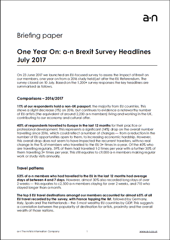 One Year On: a-n Brexit Survey headlines July 2017
