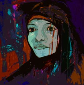 painting of a Palestinian Woman by Rachel Gadsden