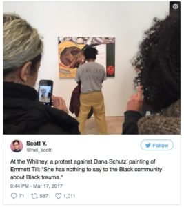 Screen grab of tweet regarding protests against Dana Schutz painting Open Casket during 2017 Whitney Biennial.