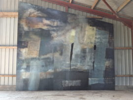 Annie Peel, Rhinns 3, bitumen, barn paint, lime-wash and varnish on on MDF, 365x460cm. Part of a site-specific triptych.