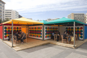 Rasheed Araeen, Shamiyaana—Food for Thought: Thought for Change, 2016–17, canopies with geometric patchwork, cooking, and eating, Kotzia Square, Athens, Documenta 14. Photo: Yiannis Hadjiaslanis