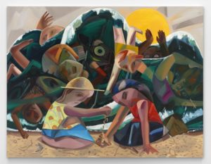 Dana Schutz, Big Wave, 2016. Oil on canvas, 120 × 156 inches (304.8 × 396.2 cm). The Barbara Lee Collection of Art by Women. Courtesy: the artist, Petzel, New York, and Contemporary Fine Arts, Berlin. Photo: Matthias Kolb. © Dana Schutz