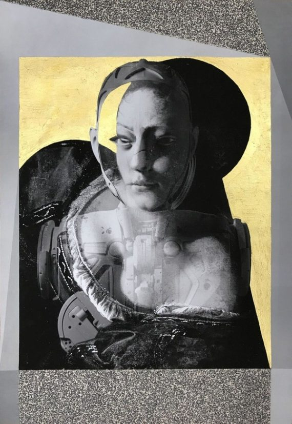 Anna Ostoya, Judith and a Robot in a Gold Chamber. Inkjet print and acrylic on paper. Courtesy: Shape Arts