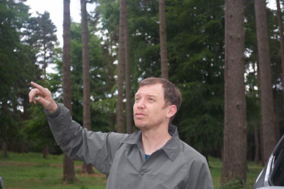 Keith Harrison, site visit, Cannock Chase Forest, part of Keith Harrison's Jerwood Open Forest commission Joyride, a Jerwood Charitable Foundation and Forestry Commission England initiative. Courtesy:  Jerwood Open Forest