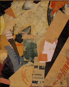 Kurt Schwitters, Mz. 299 für V.J. Kuron [Mz. 299 for V.J. Kuron], 1921. Drawing, collage on paper, 18 x 14.5 cm. Collection: National Galleries of Scotland, bequeathed by Gabrielle Keiller 1995. © DACS 2016. Photo: Antonia Reeve