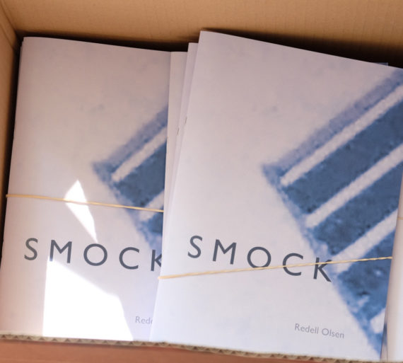 Smock, Redell Olsen, edition of 200, 2017. The book begins with an epigraph from Luce Irigaray: 'Of what [is] this is? Of air' and refers to her critical engagement with Heidegger's forgetting of this invisible substance that is all around us