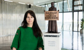 Artist Gillian Wearing with a model of suffragist leader Millicent Fawcett. Photograph: Caroline Teo/GLA