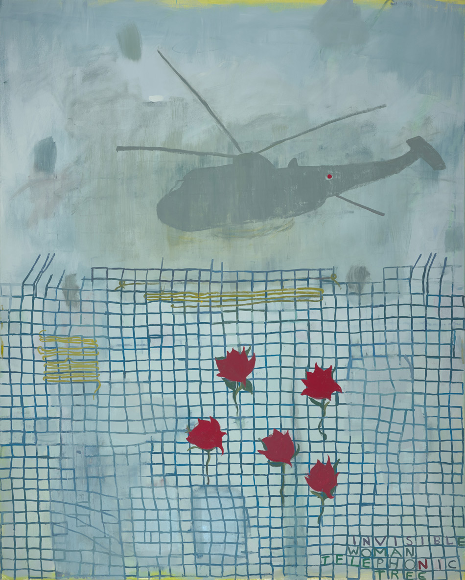 The Fence and Shadow - Invisible Woman and the Telephonic Tree oil on canvas 200cm by 160cm