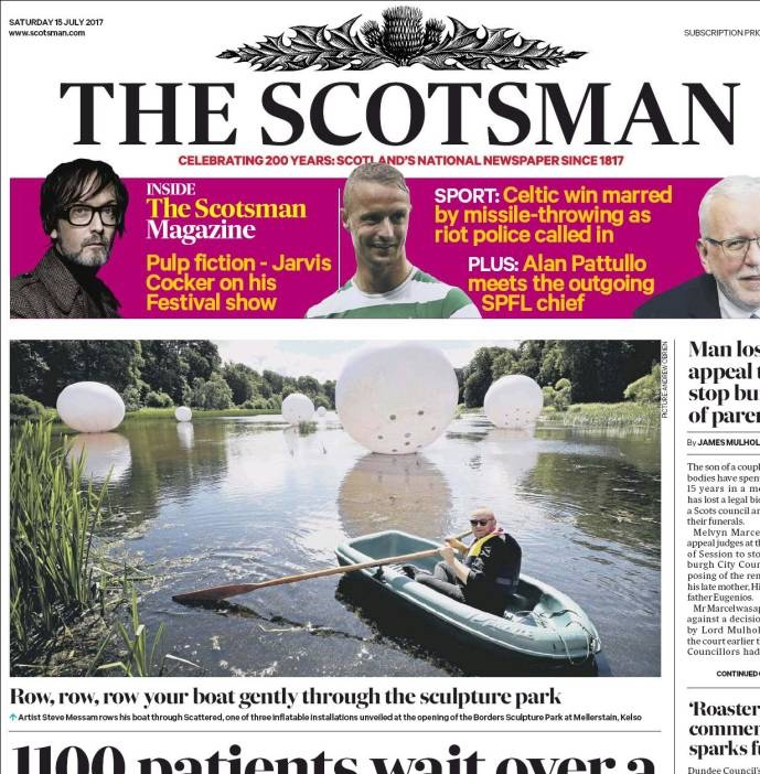 art on the front page of the Scotsman this summer.