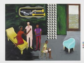 Lubaina Himid, Le Rodeur: The Lock, 2016. Acrylic on canvas, 183 x 244 cm. Courtesy the artist and Hollybush Gardens. Photo credit: Andy Keate