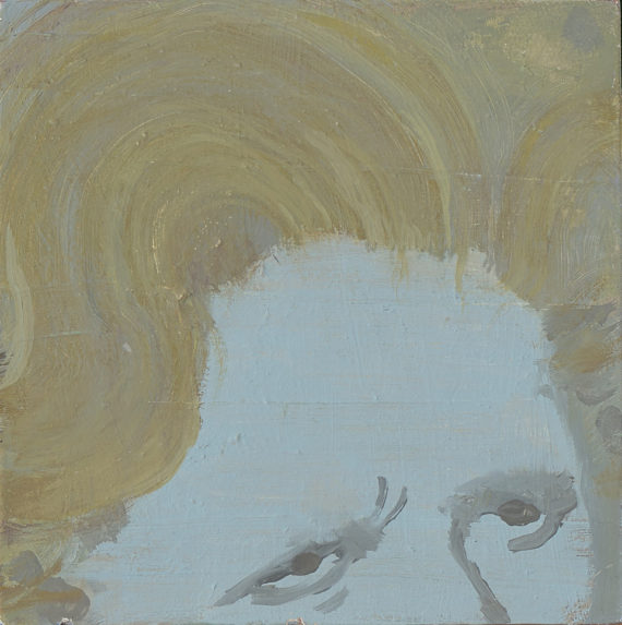 Sally Payen, Thatcher's Hair. 15cm by 15cm, oil on board. Courtesy: the artist
