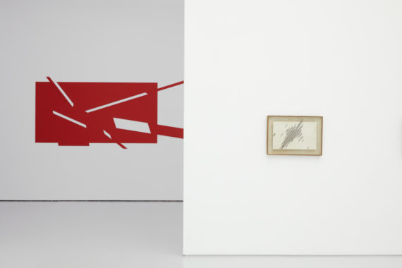 Kim Yong-Ik. Left to right; Untitled (second version 2017, after lost original of 1986) and Oblique Lines (1984) Installation view, I Believe My Works Are Still Valid, Spike Island (2017) Courtesy the artist and Kukje Gallery. Photo: Stuart Whipps