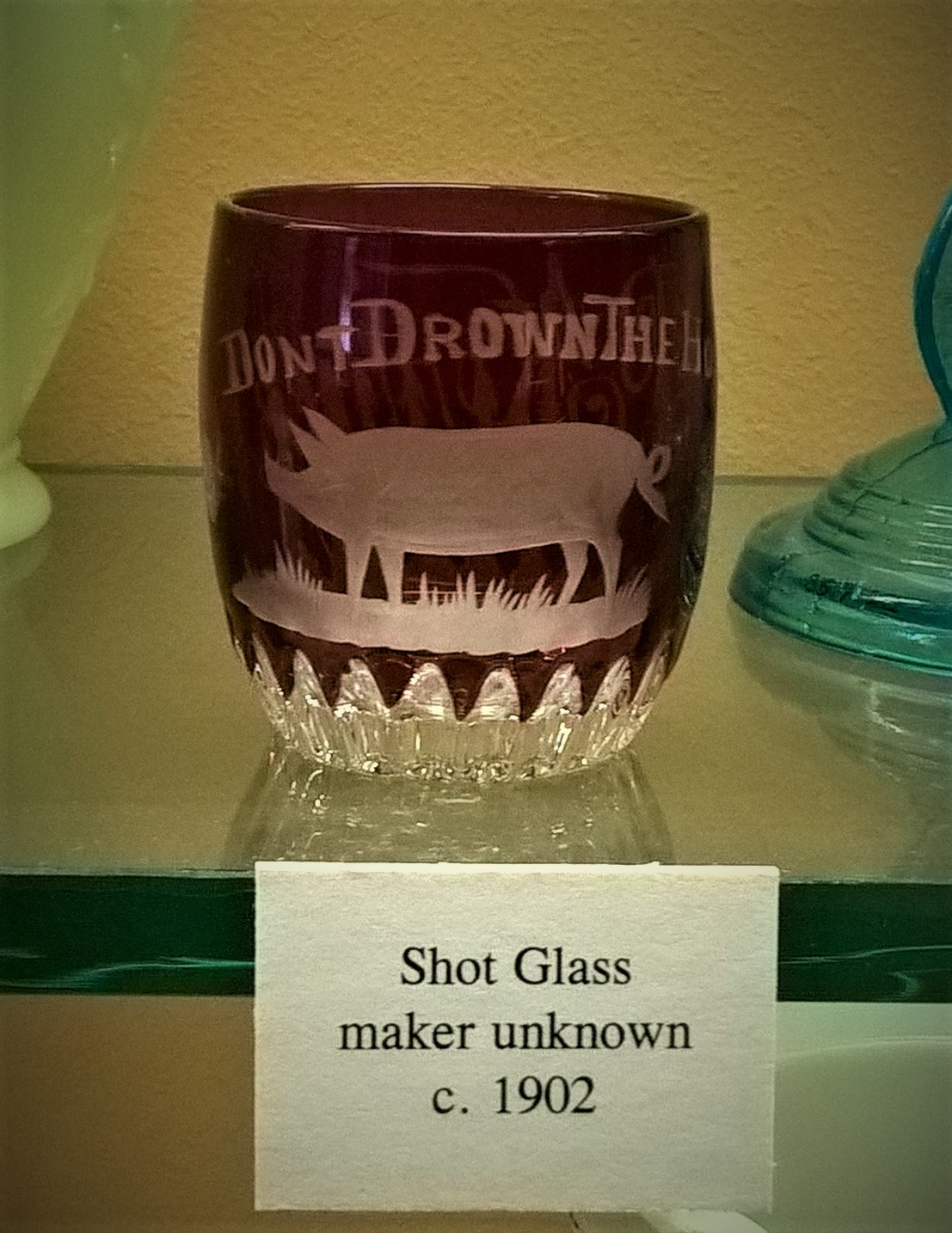 'Don't Drown the Hog' etched overlay cup, from the collection of the Museum of American Glass