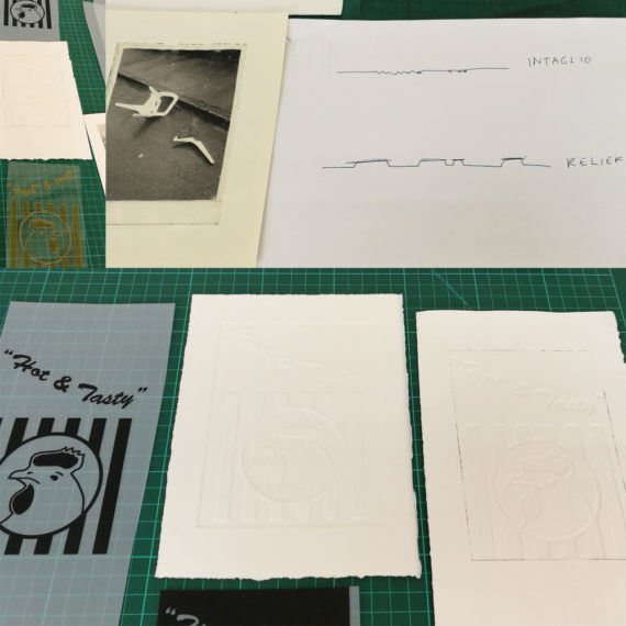 Helen Ashton's examples of Intaglio and Relief processes