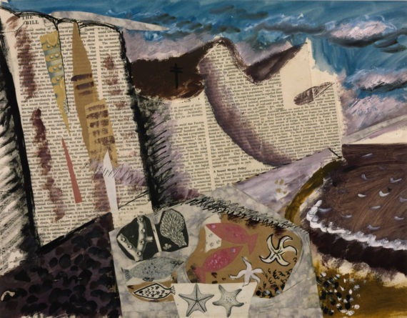 John Piper, Beach with Starfish, c.1933-4. Gouache, printed paper and ink on paper, 380 x 485 mm. Tate, presented by Lady (Charlotte) Bonham Carter, 1988