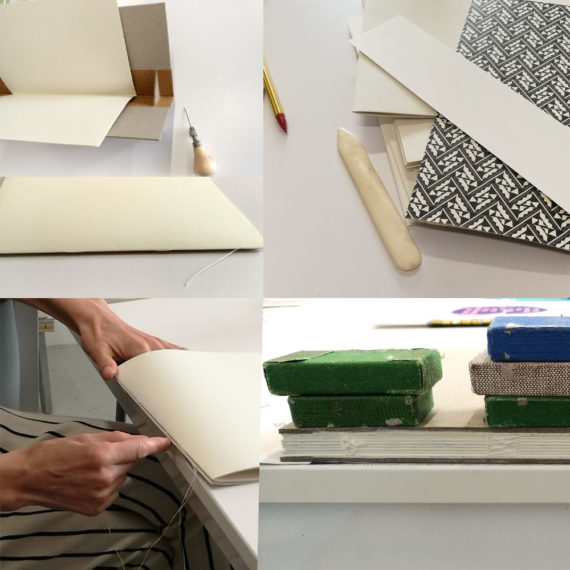 Pricing a paper section, stitching, preparing end papers, weights on spine as it glues