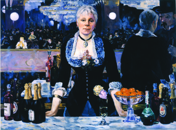 Kathleen Gilje, Linda Nochlin in Manet's Bar at the Folies-Bergère, 2006, oil on linen, 37 x 51 inches. Image courtesy of Francis M. Naumann Fine Art, New York