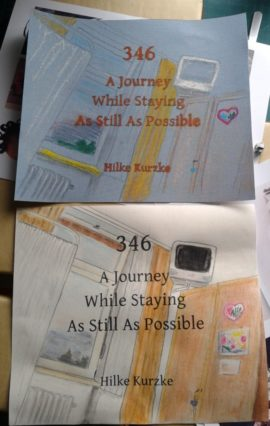 "Two versions of the cover for ""346. A Journey While Staying As Still As Possible"", a work of book art by H. Kurzke."