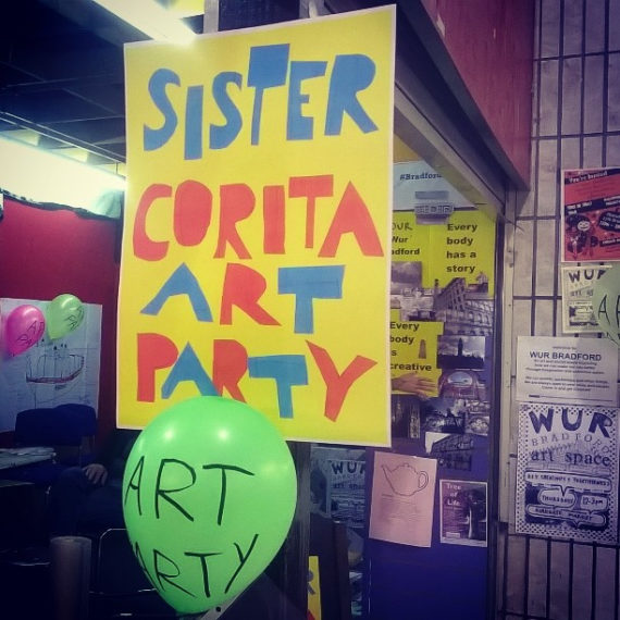Sister Corita Art Party at Wur Bradford market stall space, November 2016