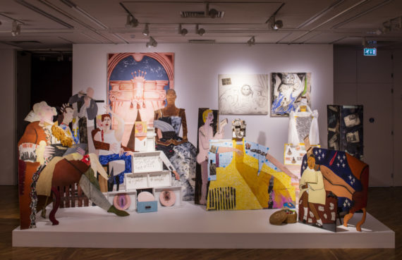 'A Fashionable Marriage, 1987' by Lubaina Himid. The Turner Prize Exhibition. Ferens Art Gallery. Hull. Photograph by David Levene 23/9/17