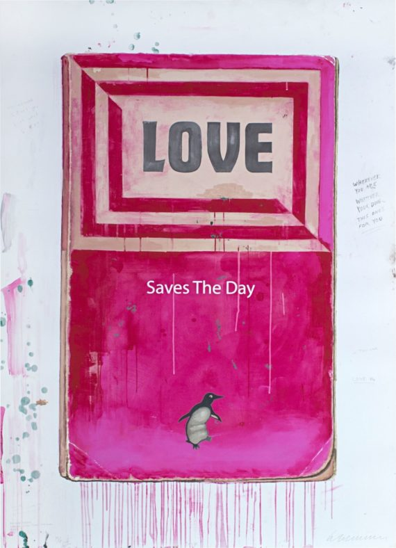 Harland Miller, Love Saves the Day, 2017. Copyright: the artist