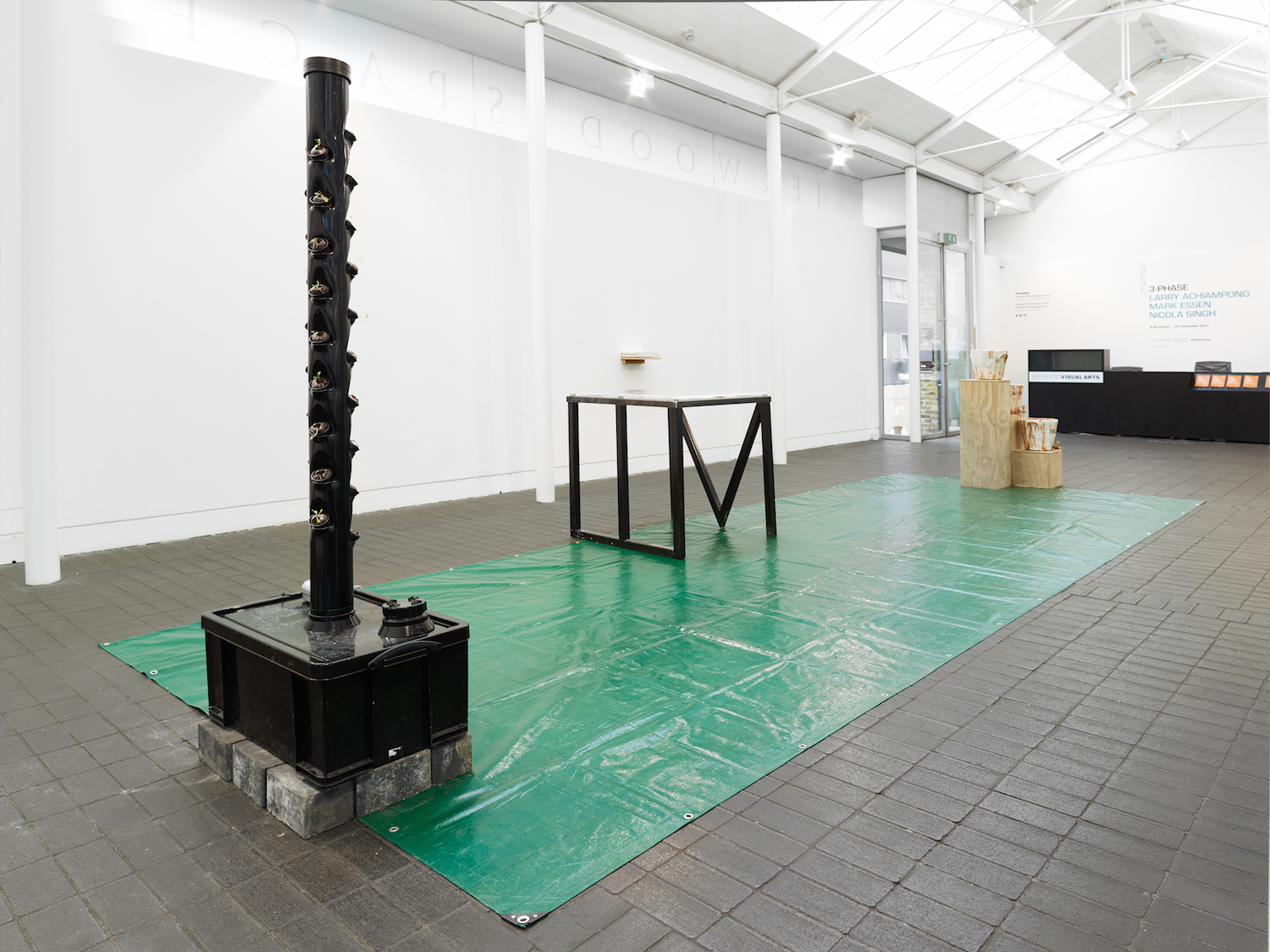 Mark Essen, 'Tis 'Ard to be a God, 2017 – installation view. Commissioned for 3 Phase, a partnership between Jerwood Charitable Foundation, WORKPLACE and Eastside Projects. Photo: Anna Arca