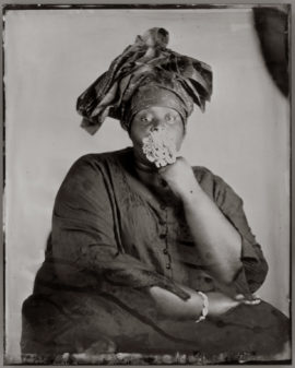 Khadija Saye, Peitaw, 2017. From the series: Dwelling: in this space we breathe. Photograph, wet plate collodion tintype on metal. 250 x 200 mm. On loan from Vinyl Factory. Image courtesy of the Estate of Khadija Saye