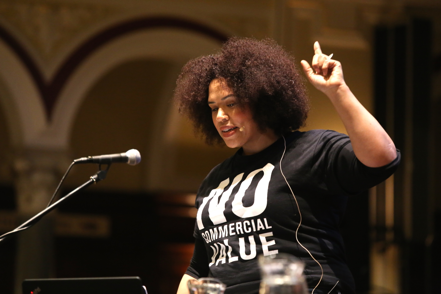 Rommi Smith speaking during Plenary 4, Engage Conference 2017 (The Whole Picture: Rethinking diversity), Hull City Hall, November 2017. Photo: Amy Charles, Courtesy: Engage