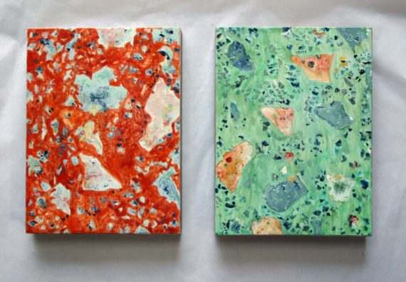 Red and Green, diptych, egg tempera on limewood, each 20 x 15 cms, 2017.