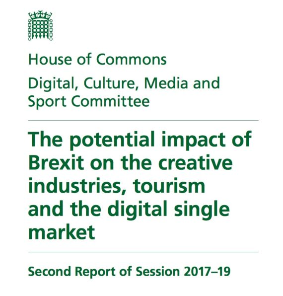 Cover page of House of Commons DCMS report, January 2018