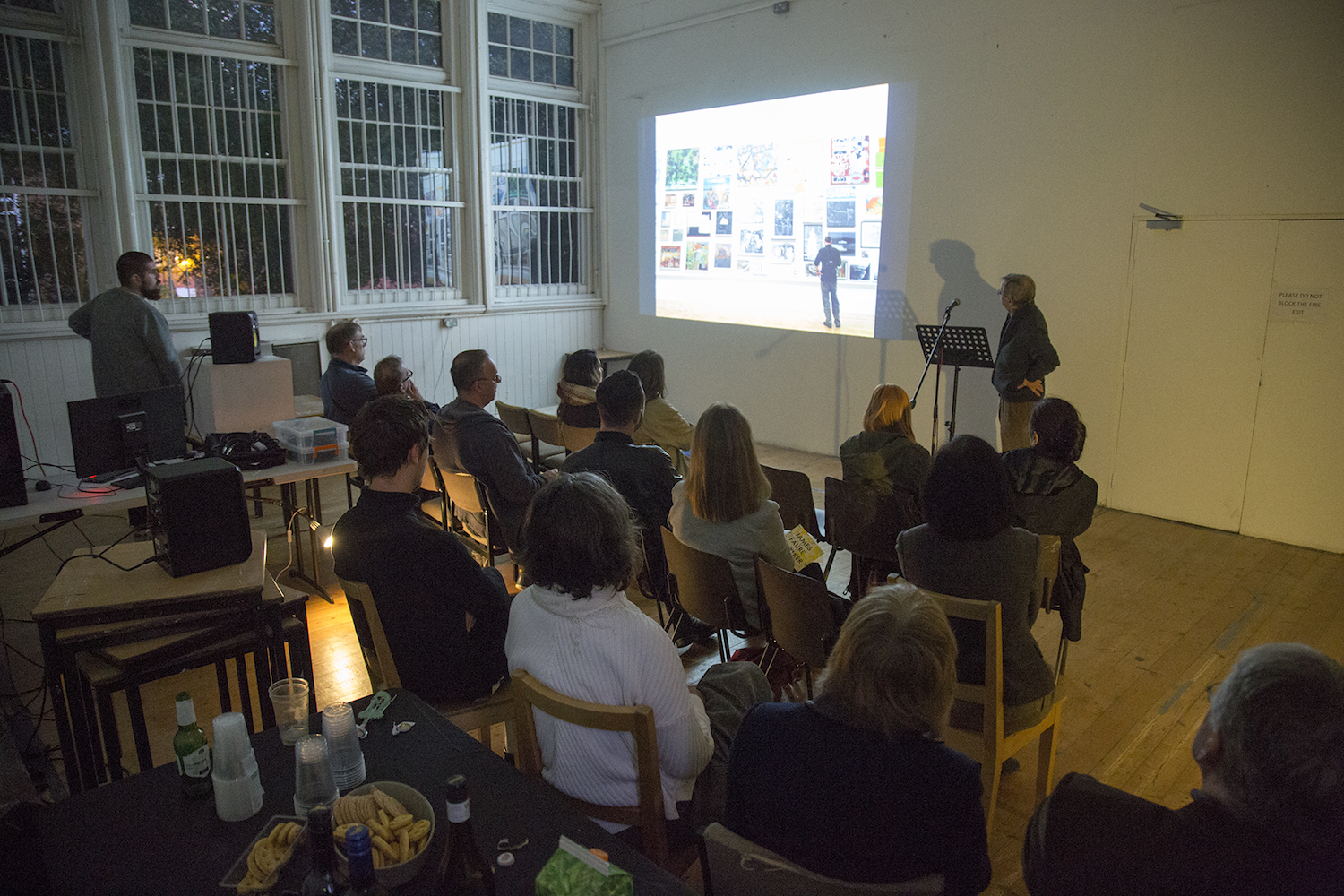 James Faure Walker Artist Talk at Holyhead Studios as part of his solo exhibition at Class Room, 2017. Photo: Emily Jones